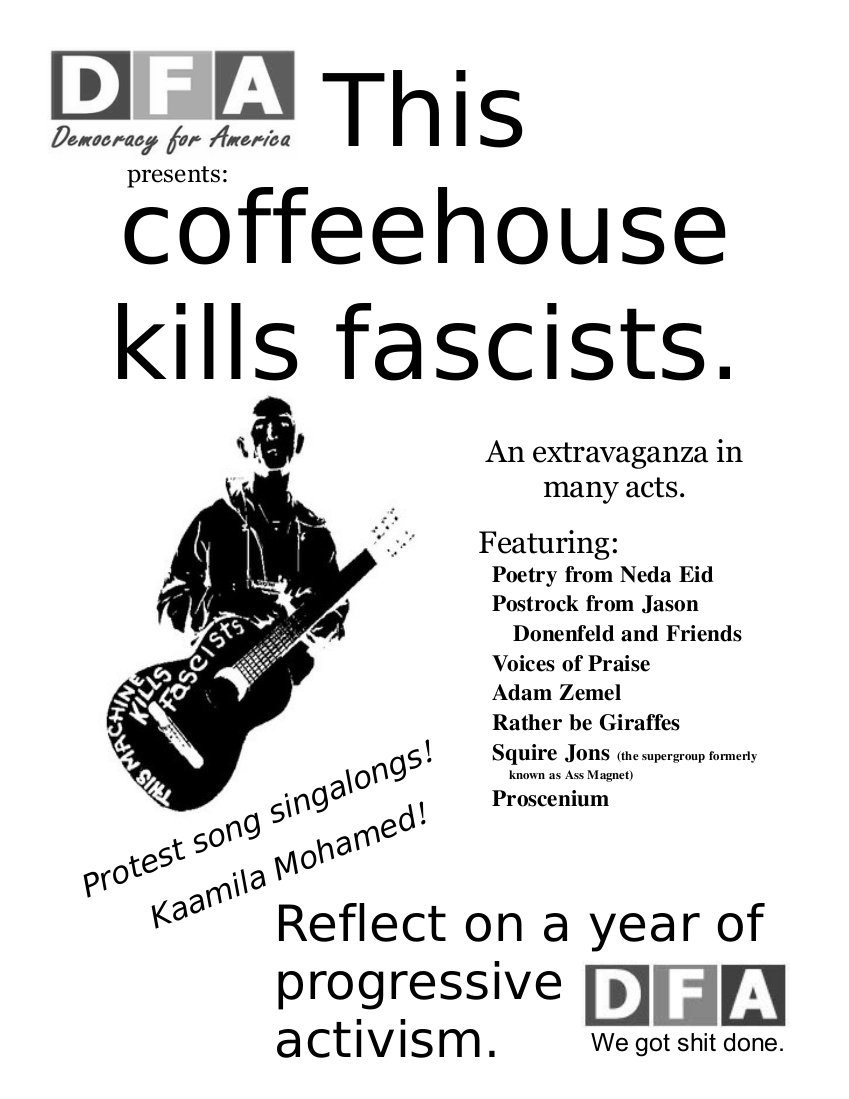 flier for dfa coffeehouse